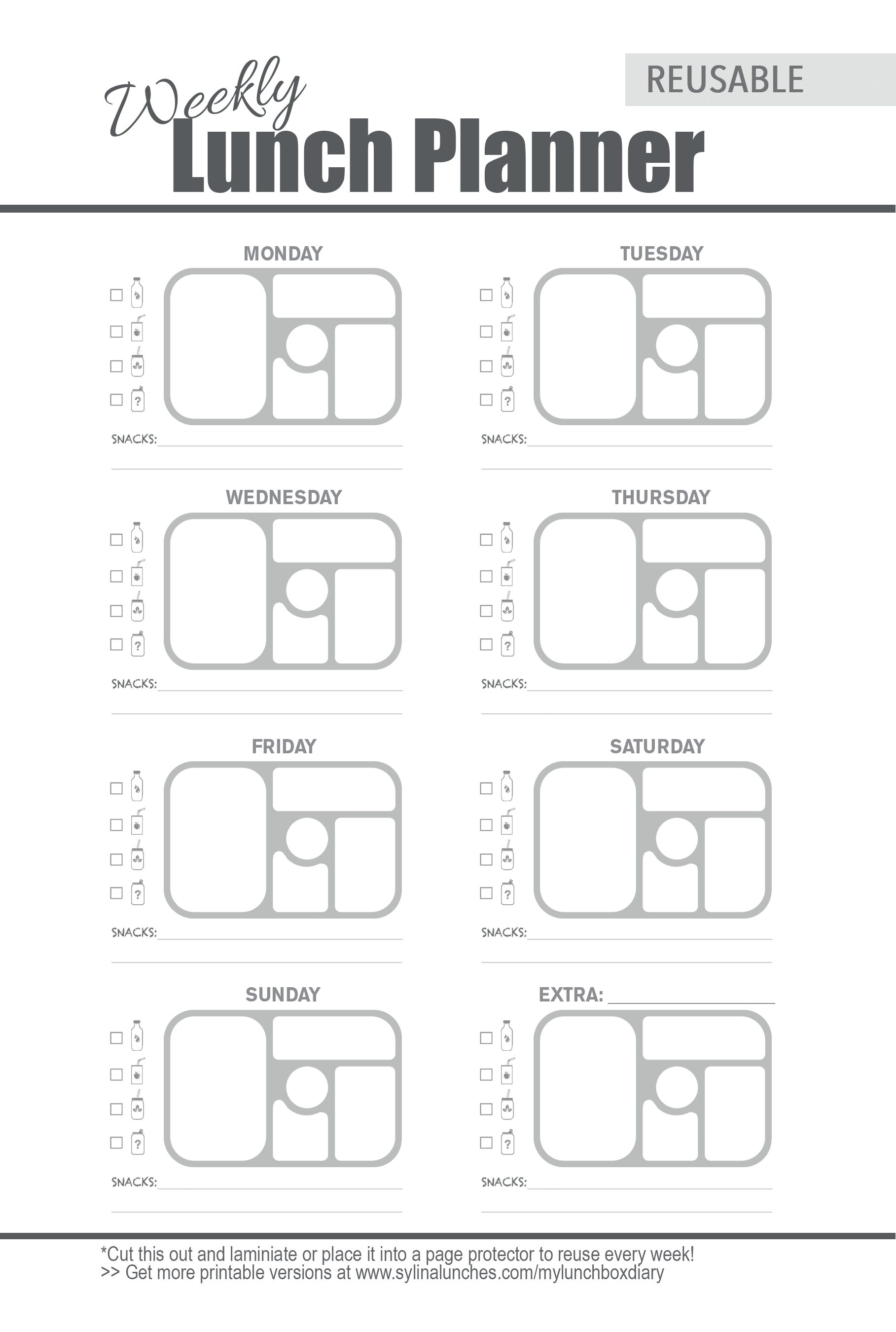 Weekly Meal Planner Template For Bento Lunch Box Planning